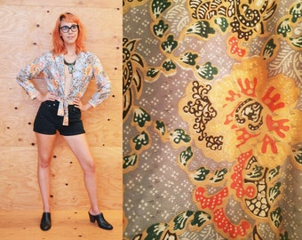 70's peach and silver lamé poppy and dragon print disco crop top S studio 54 psychedelia