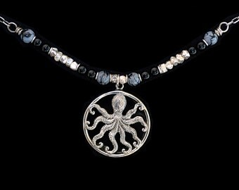FREE SHIPPING---Black Onyx OCTOPUS Lava Stone Snowflake Obsidian Necklace---Sterling Silver---Creations by Sandy