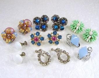 LOT 7 PR Wearable Vintage Earrings Clip Screw Blue Rhinestone White Milkglass Beaded Cluster Thermo Plastic Silver Green Costume Jewelry
