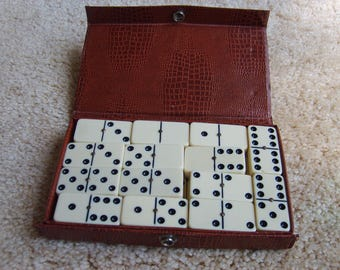 Vintage Dominoes with Case, 28 Piece Dominoes Set in Case