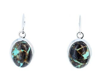 CARICO LAKE TURQUOISE Earrings Patchwork Ovals Sterling NewWorldGems