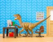 Velociraptor dinosaur diorama desk, office, and cubicle art: Fast Forwards