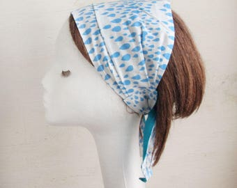 Headscarf, Beach scarf, Summer scarf, Head wrap, Drops, Polka Dots, Blue, girlfriend gift, Beach, resort, Ribbon, White