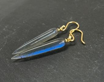 Long Earrings Labradorite Earrings Gray Earrings Icicle Earrings Gemstone Earrings Gift For Her Jewelry Flashy Opalescent Stone Fine Jewelry