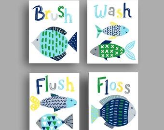fish bathroom art , fish art prints , fish shower curtain art , bathroom rules, green blue gray