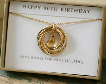 90th birthday gift for her, citrine necklace, gold grandmother necklace, November birthstone jewelry - Lilia