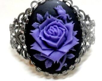 Gothic Rose Cuff Bracelet - Gothic Jewelry - Victorian Jewelry - Purple Rose - Goth - Edwardian - Art Nouveau - Art Deco - Victorian