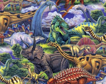 Dinosaurs from David Textiles - Full or Half Yard Realistic Dinosaurs - Age of the Dinosaurs