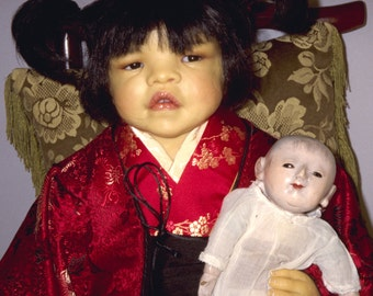 """JAPANESE One-of-a-Kind Artist Doll, """"KEIKO"""" by Lynn Cartwright 28"""" seated height"""