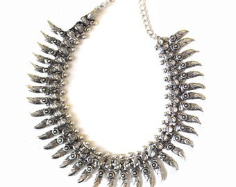 Silver Fringe Necklace,BIB Necklace,CHOKER,Kutchi Jewelry,Temple necklace, Tribal,Ethnic flare,Gift ,Vintage Jewelry by Taneesi