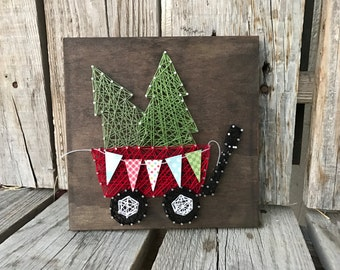 Christmas tree string art wood sign wagon handmade seasonal home decor gift banner