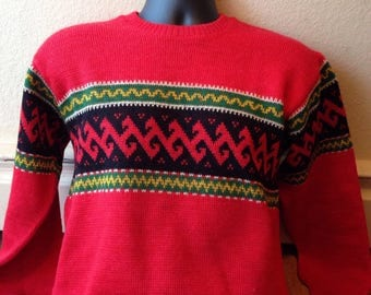 Vintage Jantzen 1940's 1950's mens or women's red patterned ski sweater
