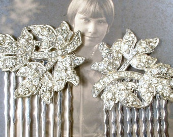 Antique Art Deco Bridal Hair Comb Pair, Art Nouveau Rhinestone Flower Leaf Hair Piece 1920s 1930 Silver Vintage Wedding Dress Clip Headpiece