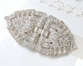 ORIGINAL Art Deco Wedding Dress Sash Belt Buckle OR Bridal Hair Comb, Vintage 1930s Pave Rhinestone, Great Gatsby Hair Accessory Headpiece