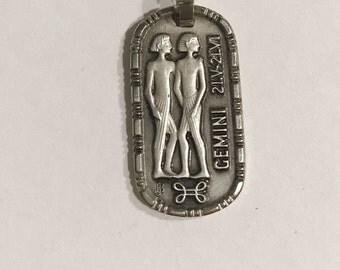 Vintage Gemini Zodiac Astrology Pendant