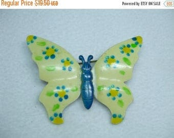 SALE 50% OFF Vintage butterfly brooch Multi layer hand painted enamel-Signed Germany