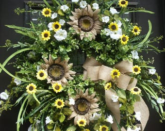 Sunflower Wreath, Spring Wreath, Burlap Wedding Wreath, Burlap Wreath, Summer Door Wreath, Summer Decor