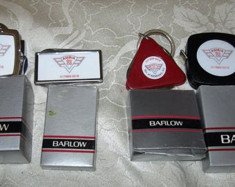 Ambia Oil Co. BARLOW Magnetic Clamp~Tape Measure~Key Chain~Knife File Advertising Barlow Box Unused Collection of 4