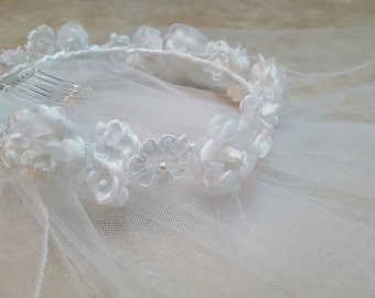 White Silk Flower Lace Communion Wreath Headpiece Veil Miniature Bride Child Hair Accessory
