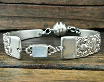 Whimsical  Spoon Bracelet From 1936 With Moonstone