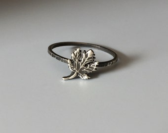 Maple Leaf Stacking Ring. Sterling silver stacker jewelry mix and match. Fall leaves leaf foliage nature natural hippie jewelry.