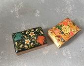 Vintage Decorative Matchboxes,Painted, floral, brass