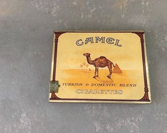 Vintage Metal cigarette tin, case, camels, storage, box , 40s