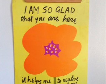 Vintage 1970s Patricia Ellen Ricci Maria Rilke Motivational Poster Flower Power