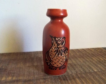 Vintage Enesco Red Orange Owl Bud Vase Saki