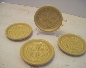 Pigeon Forge Pottery Coasters, Set of 4, Yellow Woodland Pottery Coasters