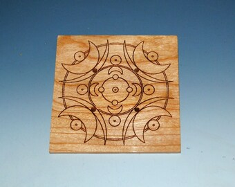 4 Laser Cut Moon Style Coasters of Cherry - Laser Engraved Coaster - Upcycled Wood Coaster - Wood Coaster Set - Cherry Coaster-Free Shipping