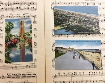 Vintage Florida Postcards Set of 3 Linen Unused Daytona Singing Tower 1940s Collector Ephemera Paper