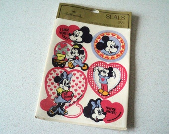 Vintage Hallmark Walt Disney SealsMickey Mouse Minnie Mouse 1970s Sealed Package of 24