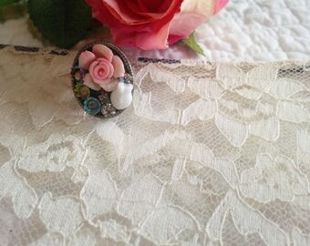 The 1940s Rose .collection shabby chic vintage assemblage ring