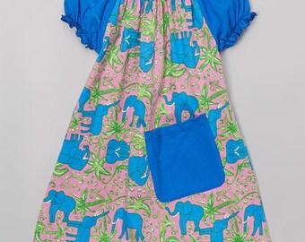Royal Elephant Pocket Peasant Dress