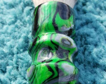 Black and Green 26mm Synthetc Silvertip Shaving Brush, Chunky Handled, 26 mm