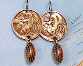RESERVED for Wendy -- Italy, Vintage Coin Earrings -- Be My Honey Bee - - Valentine - Garden - 1920s - Copper Coins