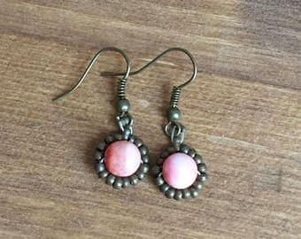 Upcycled Beaded Drop Earrings: Pink