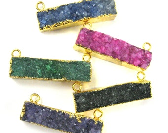 Druzy Bar Connector Pendant, Rainbow Druzy Agate Bar- Top Rings- Gold plated Brass Edge and Bail -41mm -292120