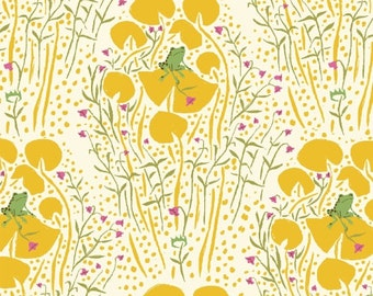 SALE *** Far Far Away Frog Prince in Yellow 1 yard - by Heather Ross for Windham Fabrics