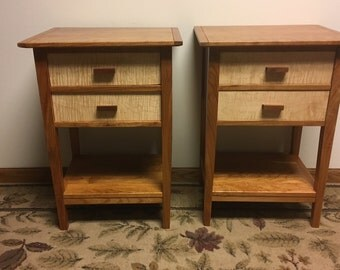 Cherry/Maple Two Drawer Night Stands, Matched Pair