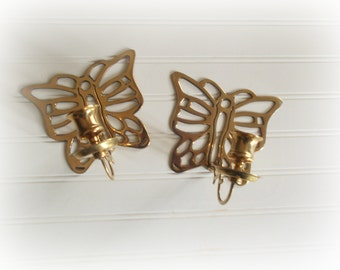 Brass Candle Holders Butterfly Wall Sconces Vintage Set Mid Century Modern Boho Wall Decor