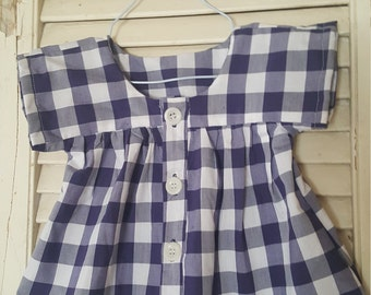 Summer Top/girls clothes/ready to ship/buffalo plaid/gingham/baby gift/ baby clothes/12-18 months