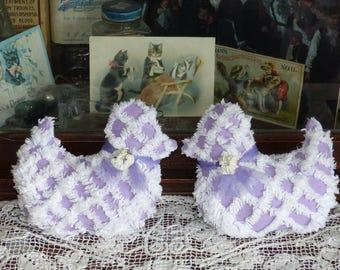 Vintage Chenille Bedspread Little Purple Ducks Chicks Sachet pillows, Easter