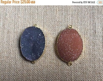 ON SALE 2 Natural Large Oval Druzy Connectors