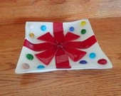 "Red ribbon plate fused glass shallow bowl holiday gift package white polka dot paper Christmas decoration home decor 6"" square shallow bowl"