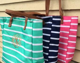 Personalized stripe tote/ bridesmaids tote/ wedding tote/ monogrammed tote bag/ beach bag/ teacher bag/ diaper bag