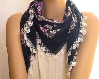 vintage cotton scarf, turkish oya, crochet trim, black, white, violet, boho, folklore, square