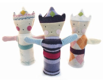 Cate and Levi Handmade Princess Hand Puppet (Premium Reclaimed Wool), Colors Will Vary
