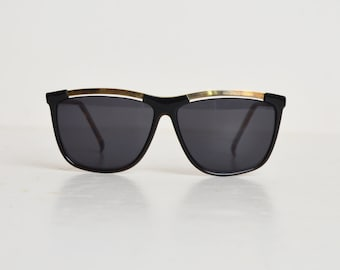 Vintage 90s Black and Gold Oversized Sunglasses Shades